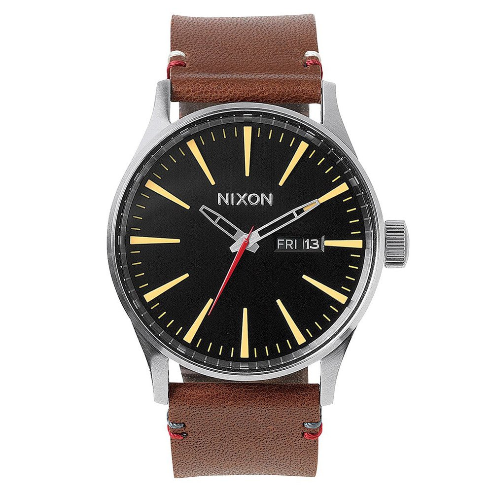 RELOJ NIXON SENTRY LEATHER - BLACK/BROWN