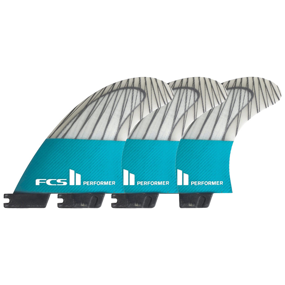 FCS FCS II PERFORMER PC CARBON TEAL L TRI FINS